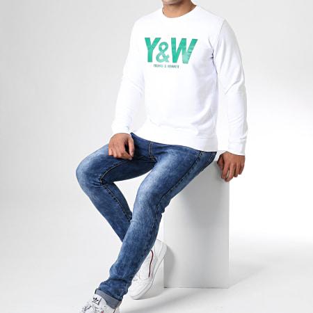 Y et W - Sweat Crewneck Logo Blanc Vert
