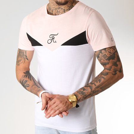 Final Club - Tee Shirt Tricolore Avec Broderie 247 Noir Blanc Rose