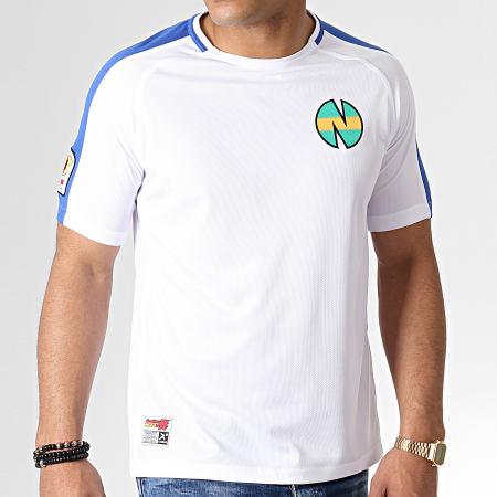 Okawa Sport - Tee Shirt De Sport A Bandes Olive Et Tom New Team 1 Blanc Bleu Roi