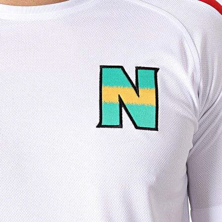 Okawa Sport - Tee Shirt De Sport A Bandes Olive Et Tom New Team 2 Blanc Rouge