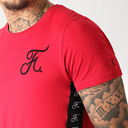Final Club - Tee Shirt Avec Bandes Et Broderie 231 Rouge