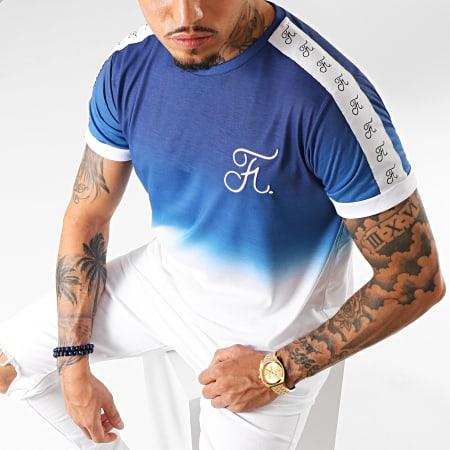 Final Club - Tee Shirt Oversize Dégradé Avec Bandes Et Broderie 223 Bleu Et Blanc