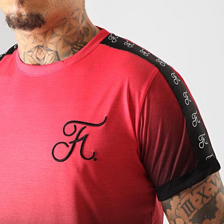 Final Club - Tee Shirt Oversize Dégradé Avec Bandes Et Broderie 225 Rouge Et Noir