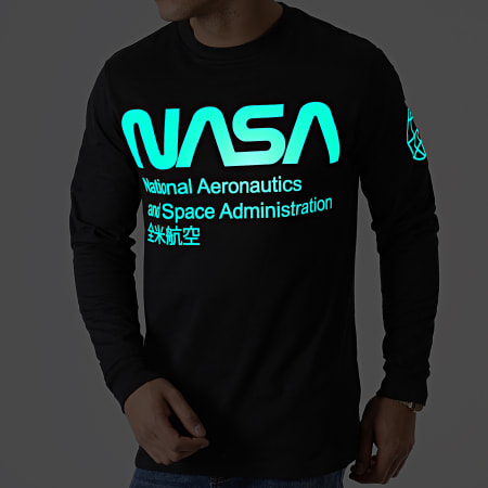 NASA - Tee Shirt Manches Longues Glow In The Dark Noir