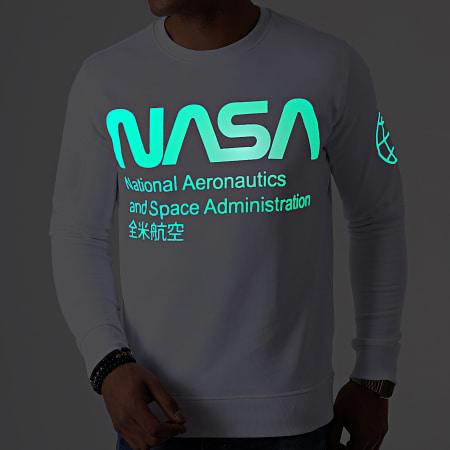 NASA - Sweat Crewneck Glow In The Dark Blanc