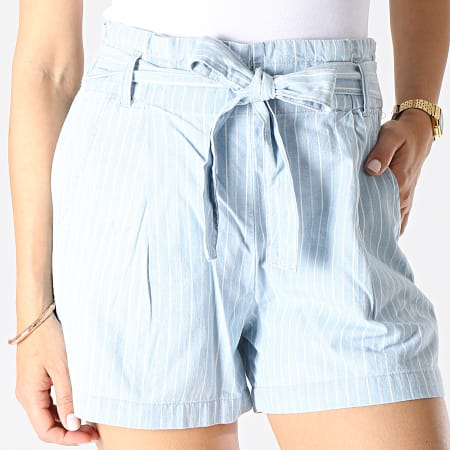 Only - Short Chino A Rayures Femme Leila Paperwaist Bleu Ciel Blanc