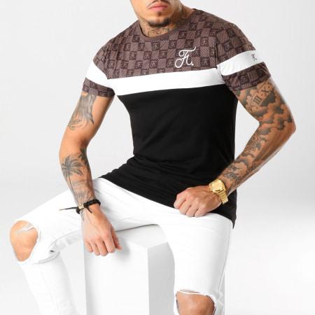 Final Club - Tee Shirt Damier Tricolore Avec Broderie 253 Blanc Noir Marron