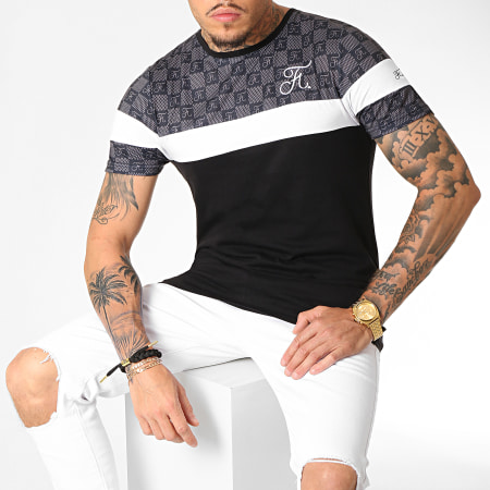 Final Club - Tee Shirt Damier Tricolore Avec Broderie 256 Blanc Noir Gris