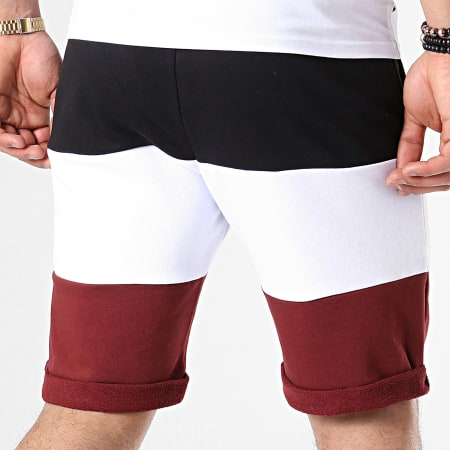 NASA - Short Jogging Worm Logo Tricolore Noir Blanc Bordeaux