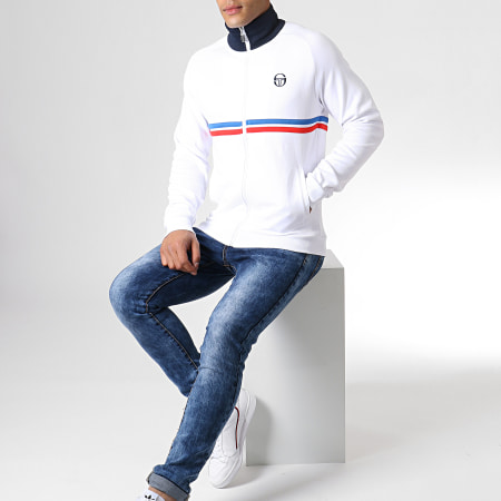 Sergio Tacchini - Veste Zippée Dallas 37570 Blanc Bleu Marine Rouge