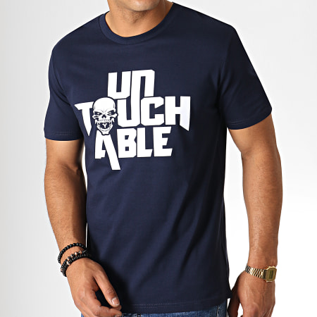 Untouchable - Tee Shirt Logo Bleu Marine Blanc
