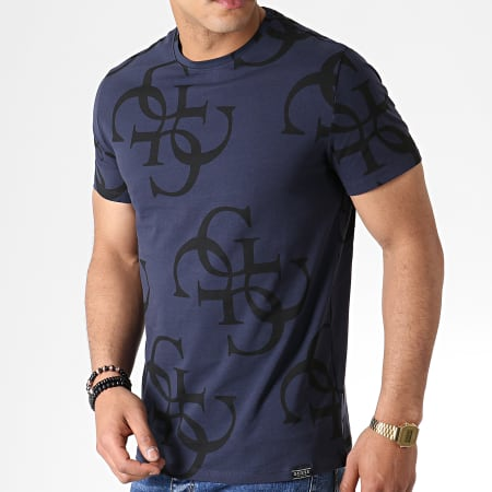Guess - Tee Shirt M93I17J1300 Bleu Marine Noir