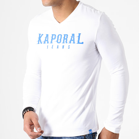 Kaporal - Tee Shirt Manches Longues Col V Pizake Blanc  Bleu Roi
