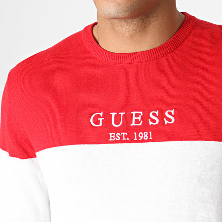 Guess - Pull M93R23Z2EO0 Rouge Blanc Noir