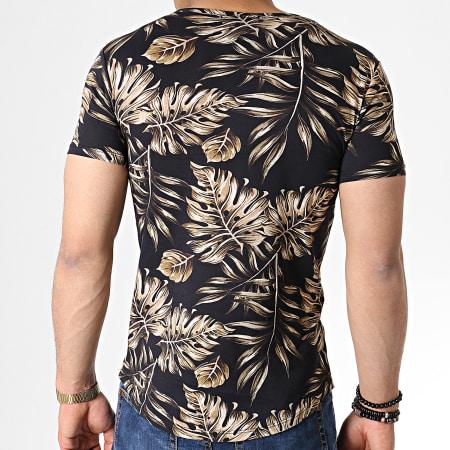 John H - Tee Shirt Oversize IT-014 Noir Beige Floral