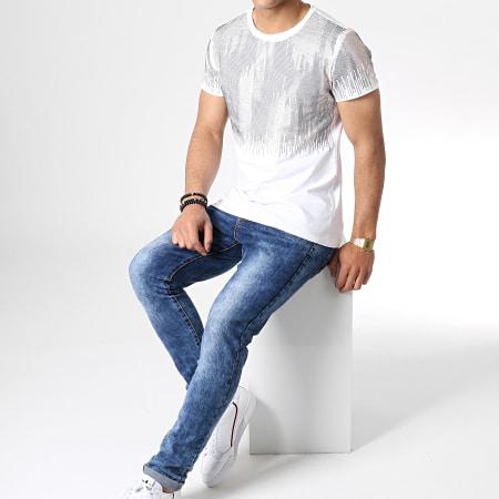 Uniplay - Tee Shirt A Strass ZS012 Blanc Doré
