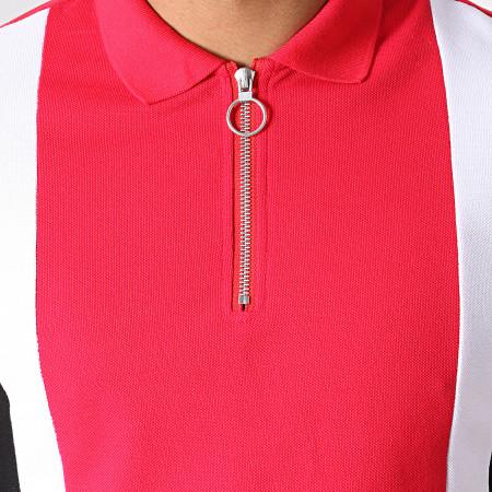 Frilivin - Polo Manches Courtes Zippé AP7238 Rouge Noir Blanc