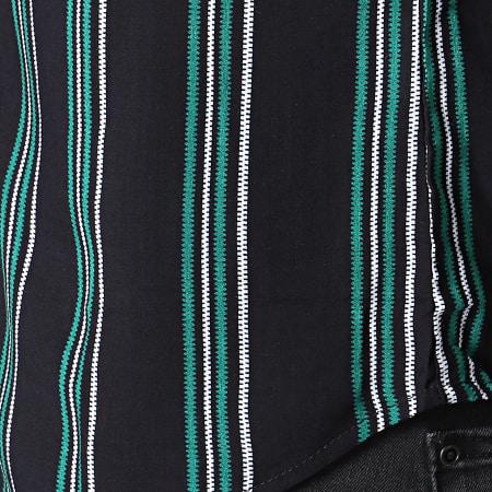 Frilivin - Chemise Manches Courtes A Rayures BM1043D Noir Vert Blanc