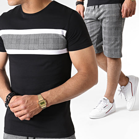 John H - Ensemble Tee Shirt Et Short A Carreaux ES07 Noir Blanc