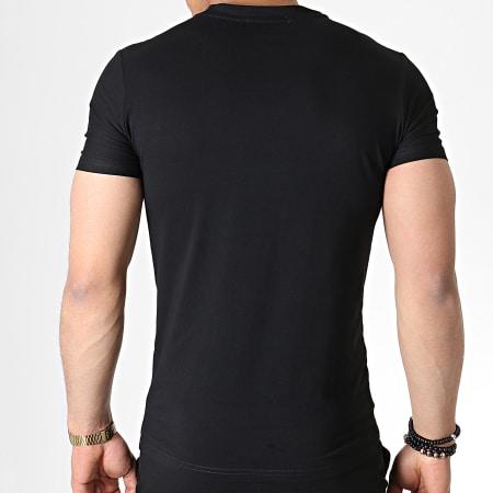 John H - Ensemble Tee Shirt Et Short A Strass TP807 Noir Argenté