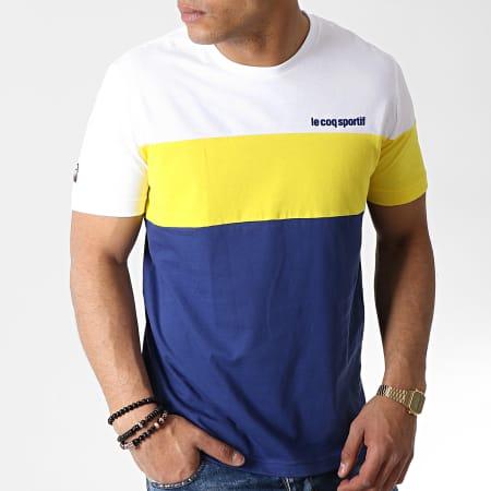Le Coq Sportif - Tee Shirt ESS Saison N1 Bleu Marine Jaune Blanc
