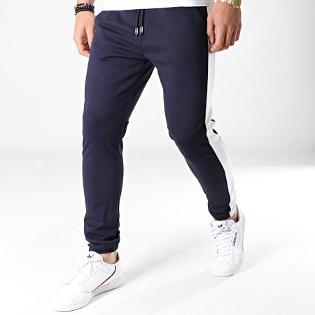 MTX - Pantalon Jogging A Bandes TM0052 Bleu Marine Blanc