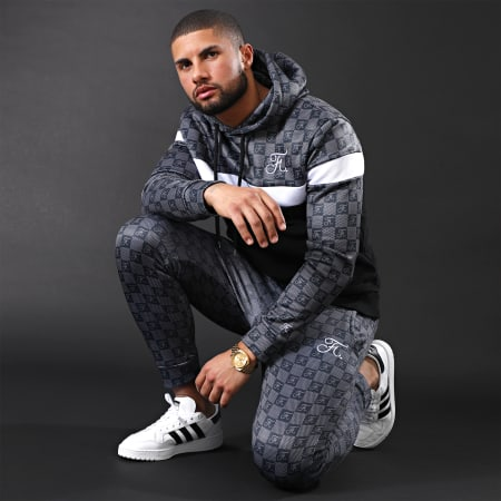 Final Club - Sweat Capuche Damier Avec Broderie 261 Noir Blanc Gris
