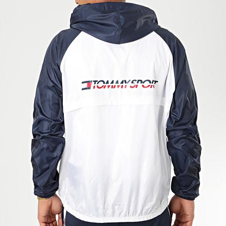 Tommy Sport - Coupe Vent Back Logo 0143 Blanc Bleu Marine