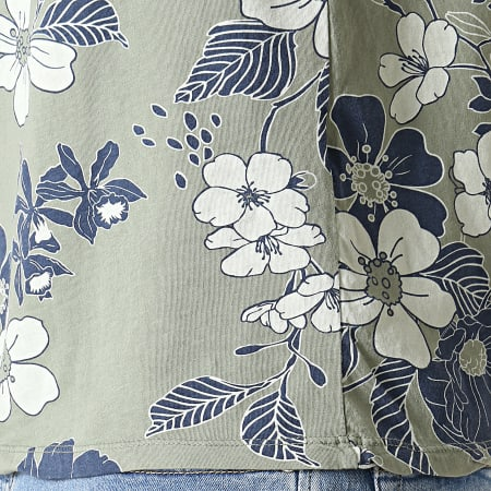 MTX - Débardeur Floral TM0204 Vert Kaki Bleu Marine