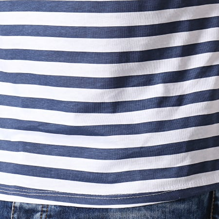 MTX - Tee Shirt A Rayures TM0202 Blanc Bleu Marine