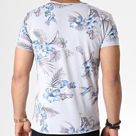 MTX - Tee Shirt Floral TM0205 Bleu Clair Gris