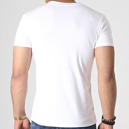 John H - Tee Shirt A Strass A047 Blanc Doré Argenté
