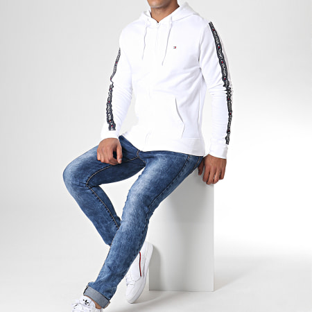 Tommy Hilfiger Jeans - Sweat Zippé Capuche A Bandes LS HWK 0708 Blanc
