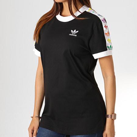 adidas Tee Shirt Femme A Bandes Pride FI0880 Noir