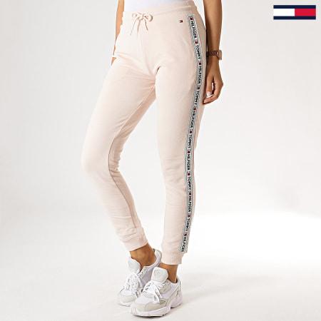 Tommy Hilfiger Jeans - Pantalon Jogging Femme A Bandes Track 0564 Rose Pâle