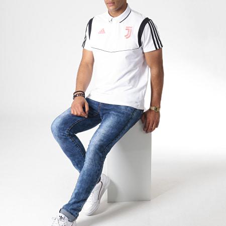 adidas - Polo Manches Courtes A Bandes Juventus DX9107 Blanc Noir Corail Fluo
