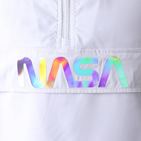 NASA - Coupe-Vent Capuche Iridescent Skid Blanc