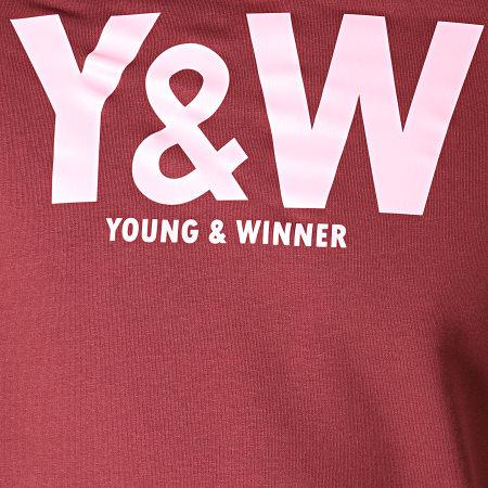 Y et W - Sweat Capuche Logo Bordeaux Rose