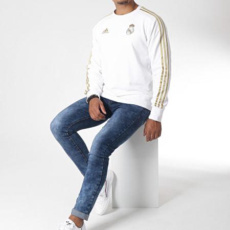 adidas - Sweat Crewneck Avec Bandes Real DY4896 Blanc Doré