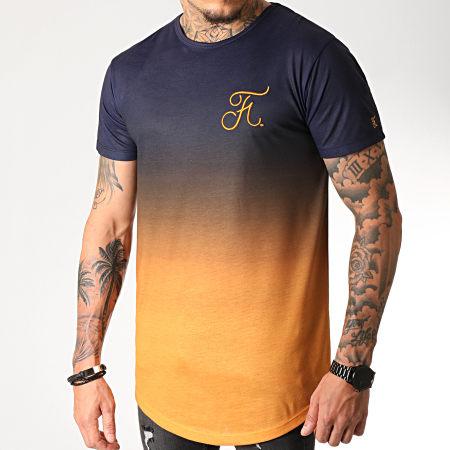 Final Club - Tee Shirt Oversize Dégradé Avec Broderie 275 Orange Et Bleu Marine