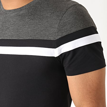 LBO - Tee Shirt Tricolore 801 Anthracite Noir Blanc