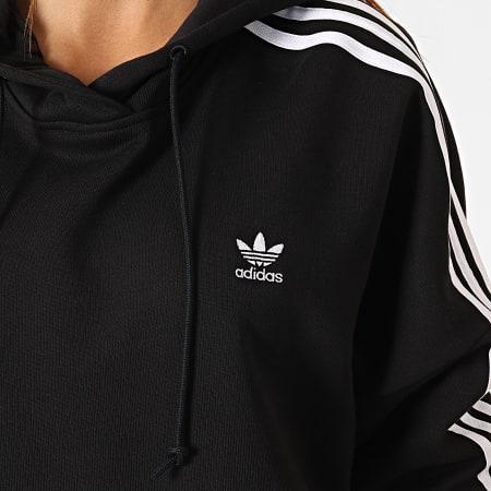 adidas Sweat Capuche Femme Avec Bandes Cropped ED7554 Noir