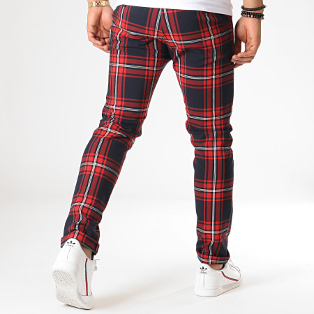 MTX - Pantalon A Carreaux 230 Rouge Bleu Marine