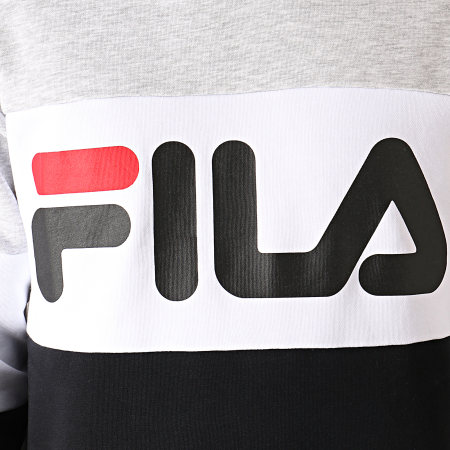 Fila - Sweat Capuche Night Blocked 687001 Gris Chiné Blanc Noir