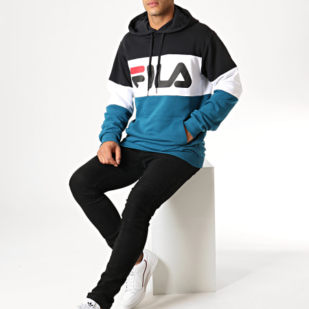 Fila - Sweat Capuche Night Blocked 687001 Bleu Marine Blanc Noir