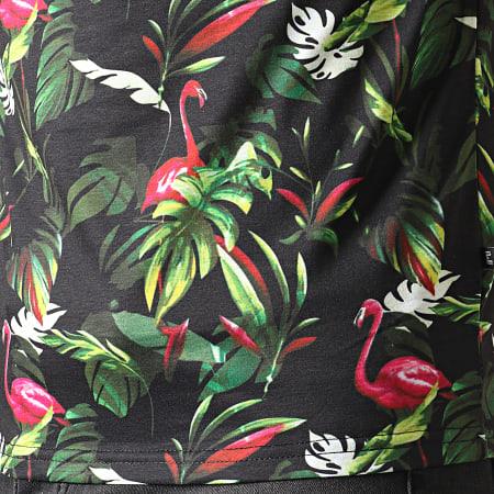 Frilivin - Polo Manches Courtes Floral MP924 Noir Vert Fushia