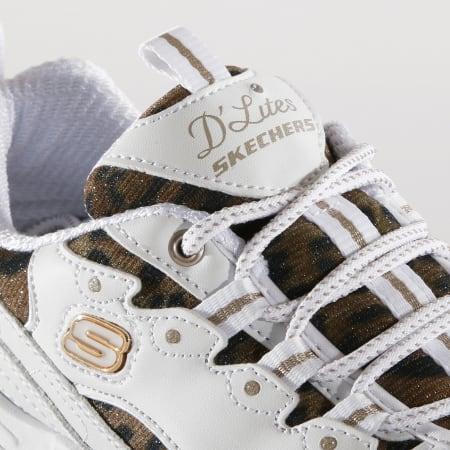 Skechers Baskets Femme D'Lites 52675 Quick Leopard White