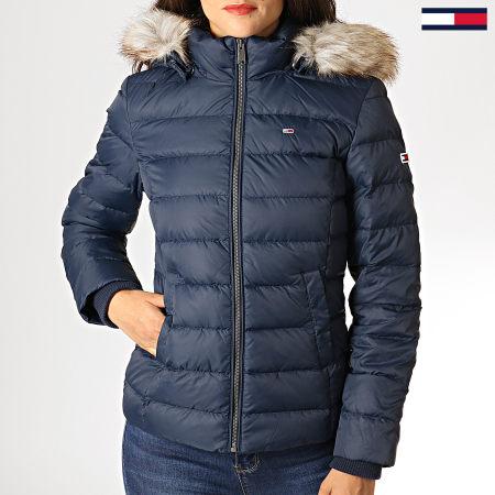 Tommy Hilfiger Jeans - Doudoune Femme Fourrure Essential Hooded Down 6774 Bleu Marine