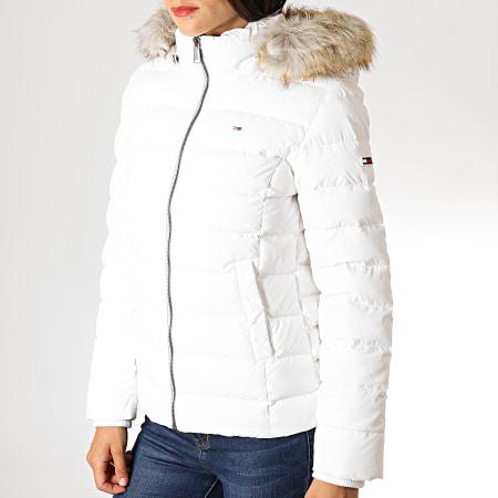 Tommy Hilfiger Jeans - Doudoune Femme Fourrure Essential Hooded Down 6774 Blanc