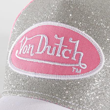 Von Dutch - Casquette Trucker Flak Rose Argenté
